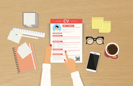 business interview: Realistic desktop design with CV template presentation and female hands