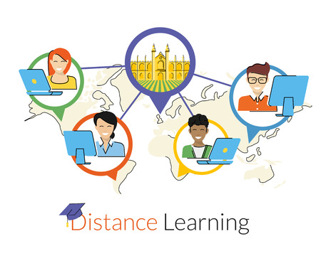 Distance learning flat contour illustration with smiling students and the university in the center. Text outlined. Free font Lato