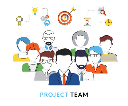 Flat contour conceptual illustration of the project team avatars with business icons over them Illustration