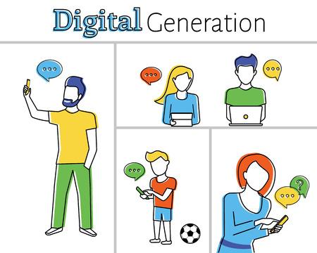 telefono caricatura: Ilustración contorno plano de personas que utilizan teléfonos inteligentes, computadoras portátiles y tablet pc. Grosor de línea totalmente editable Vectores