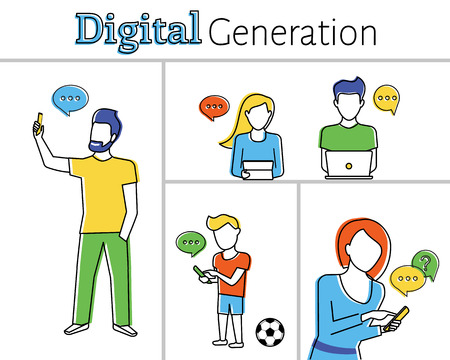 Flat contour illustration of people using smartphones, laptops and tablet pc. Line thickness fully editable