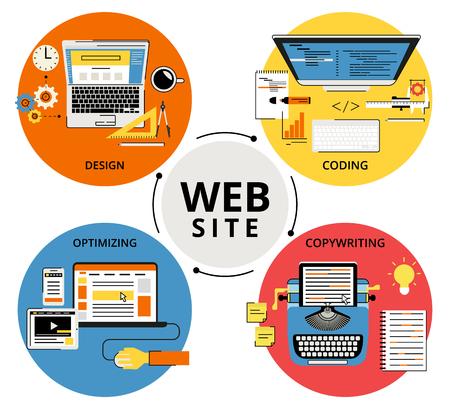 smm: Infographic flat contour concept illustration of website building