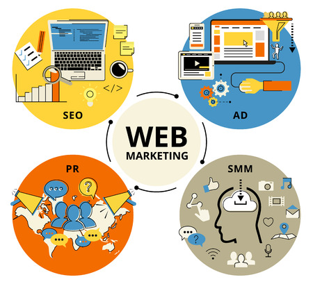 strategies: Infographic flat conceptual process illustration of web marketing. Flat contour modern style