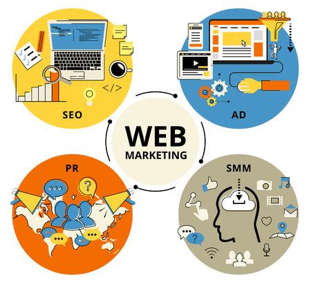 Infographic flat conceptual process illustration of web marketing. Flat contour modern style