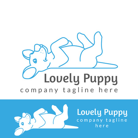 thickness: Lovely puppy contour logo illustration isolated on white background line thickness fully editable