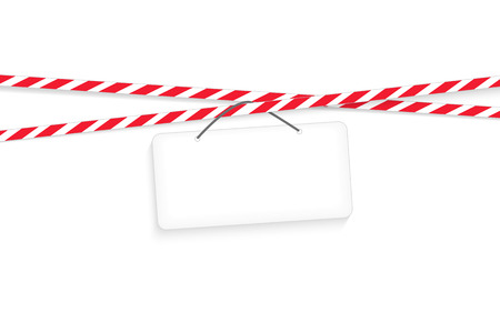 restrictive: Under construction white tablet with realistic red striped restrictive tape