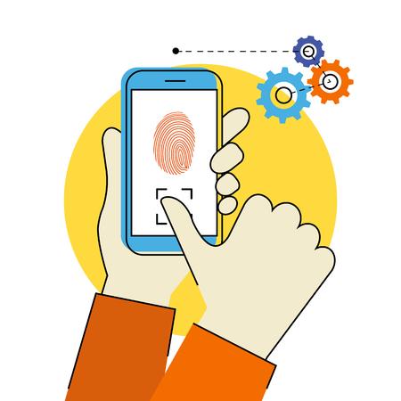 Flat contour illustration of identification of fingerprint on smartphone.