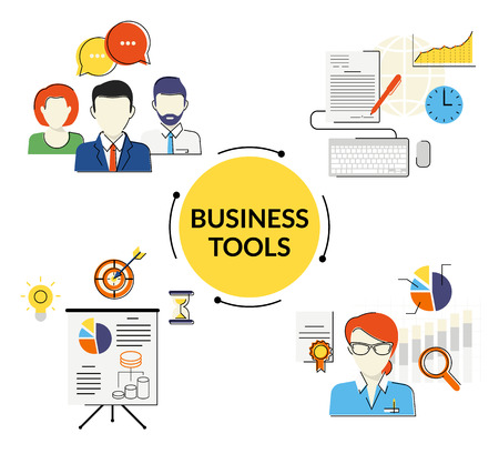 trainers: Business tools flat contour illustrations set of discussing, signing the contract and project presentaton