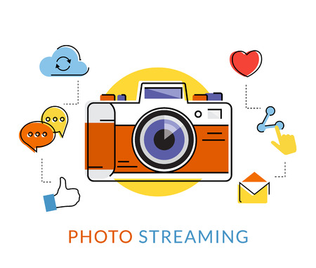 media equipment: Flat contour illustration of retro camera with social media icons isolated on white Illustration