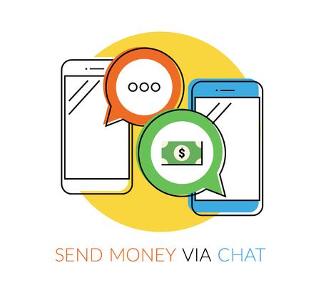 segurar: Transferir dinheiro para amigos via messager chat. Ilustração de contorno liso de dois smartphones com balões de fala