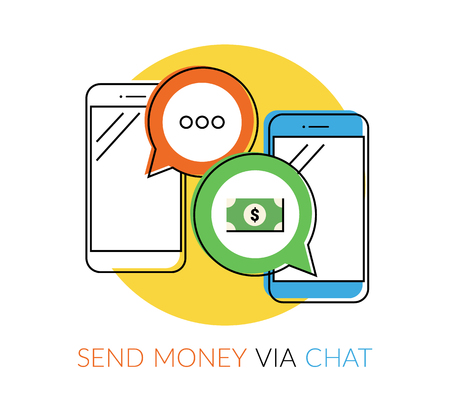 phones: Transferring money to friends via chat messager. Flat contour illustration of two smartphones with speech bubbles