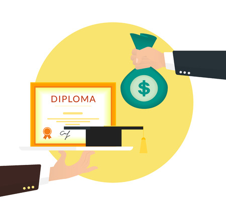 remuneration: Bribery for education. Human hand holds big bag of money and buys a diploma. Flat concept illustration