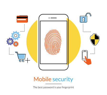 proteccion: Ilustración de contorno plano del teléfono inteligente de protección de huellas digitales para hacer compras en línea. Vectores