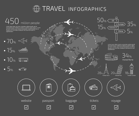 Contour drawing of travel infographic template isolated on gray background. Text outlined. Free font used - Exo 2 and Open Sans Illustration