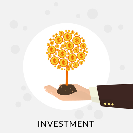 saving: Human hand with gold money tree. Investment concept illustration