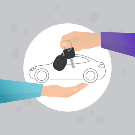 buy car: Car rental concept in flat style. Human hand holding car key with contour car on the backgroung Illustration