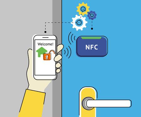 nfc: Flat contour illustration of mobile unlocking home door via smartphone using nfc function.