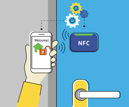 Flat contour illustration of mobile unlocking home door via smartphone using nfc function.