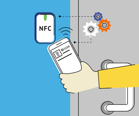 nfc: Flat contour illustration of mobile unlocking a door via smartphone using nfc function.