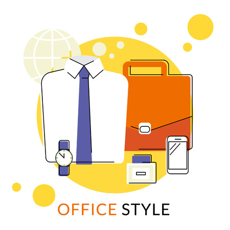 office accessories: Flat contour illustration of male office accessories. Shirt, briefcase, wristwatch and smartphone. Icon isolated on white