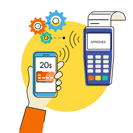 via: Flat contour illustration of mobile payment via smartphone using wireless technologies.