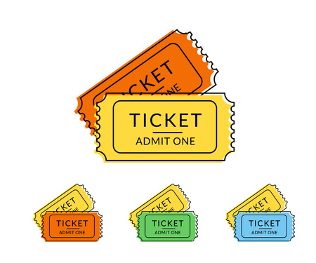 temlate: Two retro tickets. Temlate flat contour illustration for cinema and other events. Text outlined