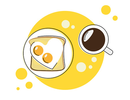 Flat contour illustration of morning breakfast round icon with coffee and sandwich Illustration