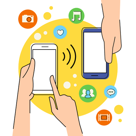 nfc: Flat contour illustration of people sharing data via smartphone with nfc function