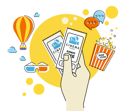 Flat contour illustration of human hand holds two cinema tickets. Text outlined