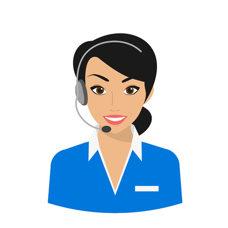 customer support: Female call centre operator wearing headset. Flat moderm style isolated on white background