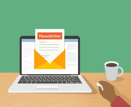 Mieszkanie ilustracją człowiek czytanie codzienny newsletter na swoim laptopie w domu