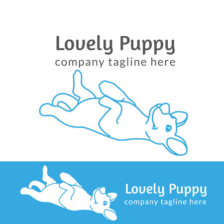 thickness: Lovely pup contour logo illustration isolated on white background line thickness fully editable