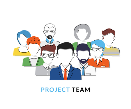 teamwork cartoon: Flat contour conceptual illustration of the project team avatars isolated on white Illustration