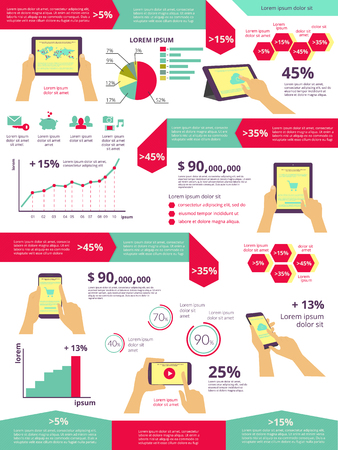 usability: Template infographic visualization of usability tablet pc and smartphone Illustration