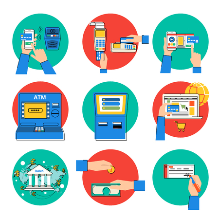 Flat modern contour illustrations set of payment methods such as credit card, nfc, mobile app, atm, terminal, website, bank transfer, cash and invoice