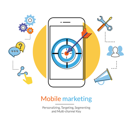 Mobile marketing and targeting. Flat contour illustration of a smartphone with dartboard in the screen. Text outlined, free font Lato