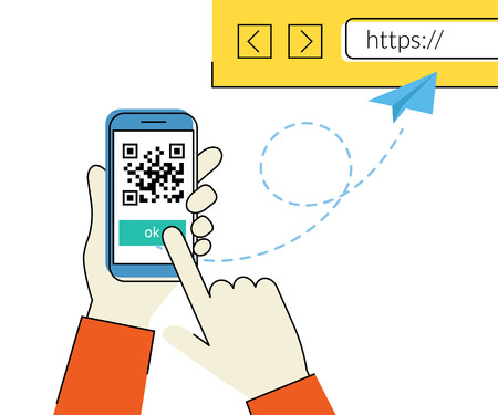 Flat contour illustration of man is scanning QR code via smartphone app then following the link to the webpage
