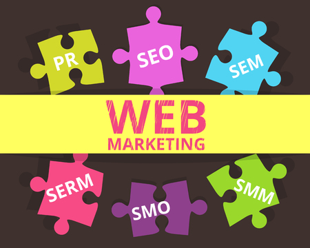 pr: Infographic colorful illustration of web marketing us puzzles SEO SEM SMO SMM SERM and PR.