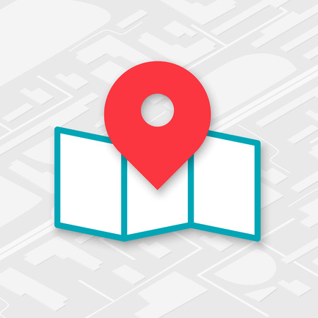 pinpoint: Isometric map icon with red pin pointer in the center