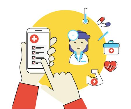 Contour plat illustration de la main humaine détient Smartphone blanc avec application mobile médicale et femme médecin avec des icônes de healcare liés
