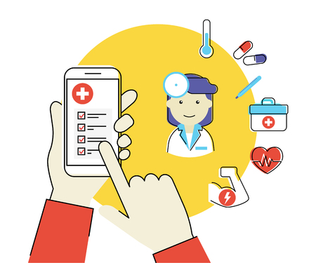 Flat contour illustration of human hand holds white smartphone with medical mobile app and female doctor with healcare related icons Vettoriali