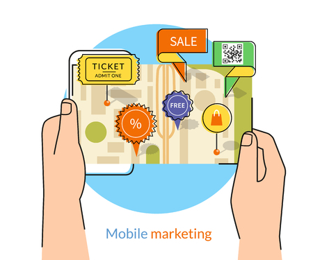 mobile marketing: Mobile marketing and personalizing. Human hands hold a smartphone with map and commercial pins. Text outlined, free font Lato