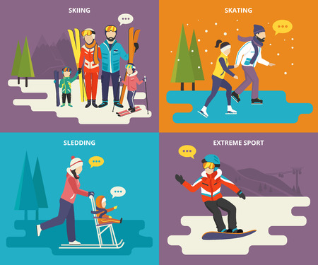 outdoor wedding: Family with kids concept flat icons set of winter sport such as skiing, skating, sledding with extreme snowboarding