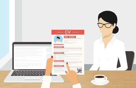 CV 프리젠 테이션이 포함 된 현실적인 데스크톱 디자인. 직원과의 비즈니스 인터뷰 일러스트 일러스트