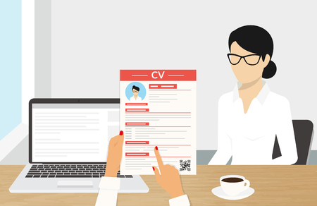 Realistic desktop design with CV presentation. Illustration of business interview with an employee Vectores