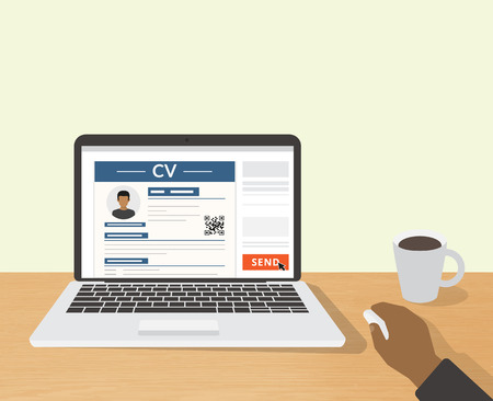 Realistic desktop design with CV template presentation. Illustration of sending online CV to employer