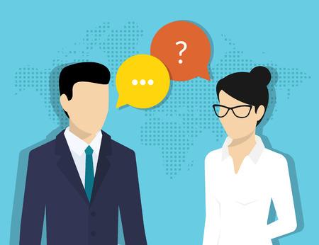 reunion de trabajo: Consultor�a de negocios. Ilustraci�n plana de mujer de negocios y consultor de sexo masculino con las burbujas del discurso Vectores