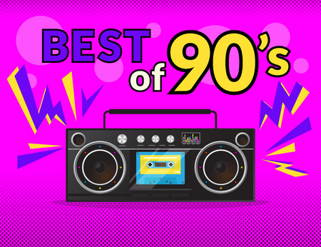 Best of 90s illistration with realistic tape recorder on pink background Çizim