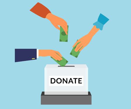 Charity donation funding social responsibility flat illustration. Donors hands put money into the box.
