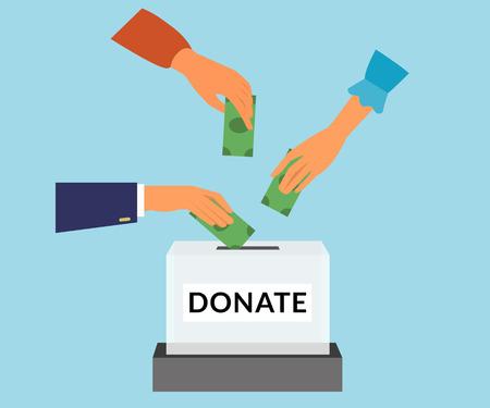 responsabilidad: la donación de fondos de caridad responsabilidad social plana ilustración. manos de los donantes poner dinero en la caja.
